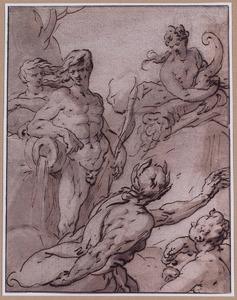 Riviergod, Pan, Abundantia en twee andere figuren