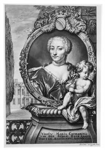 Portret van Maria Catharina van der Burch (1707-1761), echtgenote van Hendrik van Slingelandt; in de achtergrond de buitenpaats Zuydwind (Zuidwind) bij Den Haag