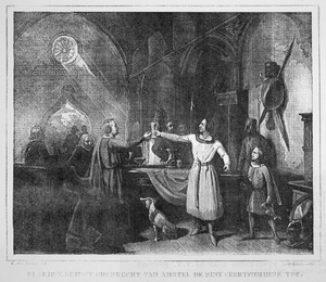 Floris V brengt Gijsbrecht van Amstel de Sint Geertenminne toe