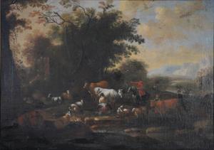 Landschap met herders met een kudde dieren en een melkmeid