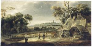 Landschap met figuren op een weg langs een boerderij