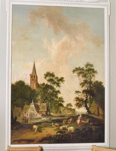 Dorpsgezicht met watermolen en kerk