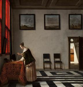 Een dame met een parelsnoer in een interieur