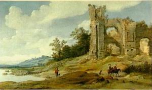 Italiaans landschap met ruiters voor een ruïne