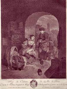 Pratende vrouwen in de doorgang van een schuur