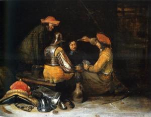 Soldaten die kaart spelen rond een tafel