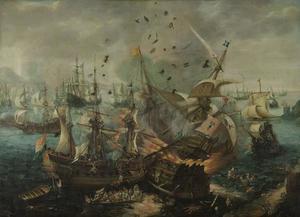 Het ontploffen van het Spaanse admiraalschip tijdens de zeeslag bij Gibraltar (25 april 1607)