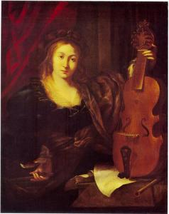 Jonge vrouw met lira da gamba