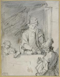 Oude man geeft aalmoes aan een liereman
