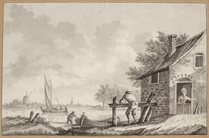 Rivierlandschap met figuren en boten