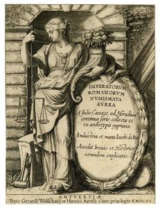 Titelpagina voor J. Hemelaers, Imperatorium Romanorum Numismata Aurea, Antwerp 1615