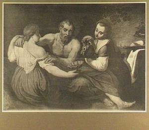 Lot wordt door zijn dochters dronken gemaakt (Genesis 19: 33-34)
