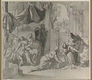 De jonge Mozes wordt in het met pek besmeurde rieten mandje gelegd (Exodus 2)