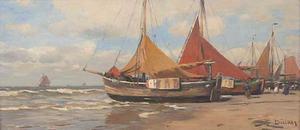 Vissersschepen aan het strand