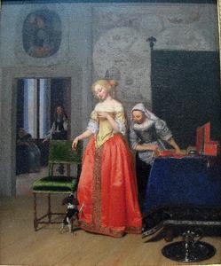 Jonge vrouw met een dienstmeid en een schoothondje in een interieur