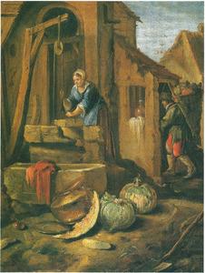 Vrouw bij waterput en man met mand groenten