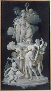Offer aan Minerva door putti en nimfen