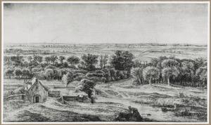 Gezicht vanaf de Bijlhouwerstoren te Utrecht op een gedeelte van bastion Sterrenburg en het landschap ten westen van de stad