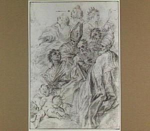 Acht heiligen, onder wie H. Gregorius en drie putti