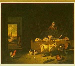 Herder met vee in een stalinterieur