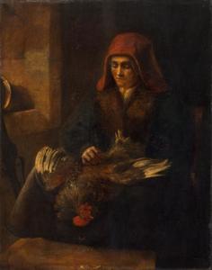 Vrouw die een haan plukt