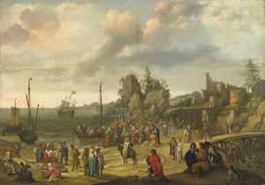 Jezus predikend vanaf een boot aan het strand van Gennésareth (Matt. 14:34-36)