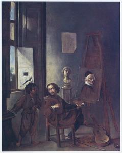 Portret van een onbekende kunstenaar in zijn atelier, met een onbekend kind
