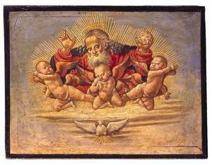 God de vader zwevend op een wolk met drie engelen en de H. Geest