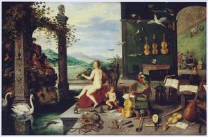 Allegorie van het gehoor (een van de vijf zintuigen): een musicerende vrouw