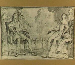 Portret van een echtpaar en drie andere personen