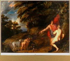 Venus tracht Adonis te weerhouden ter jacht te gaan