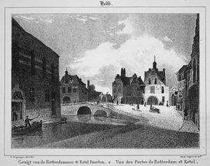 Gezicht op de Rotterdammer- en Ketelpoort te Delft
