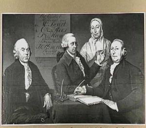 Portret van de regenten en opzichters van het Vrouwe Antonie Gasthuys te Haarlem, met de huismoeder, 1788