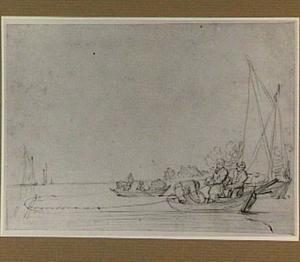 Rivierlandschap met vissersboten en sleepnet