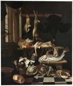 Keukeninterieur met kool, fruit, vis en jachtbuit