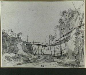 Een houten brug over een rivier