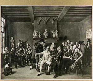 Het 'Teekencollegie' te Haarlem, bijeen in zijn huis op het Klein Heiligland