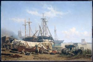 Schafttijd op een scheepstimmerwerf aan de Maas