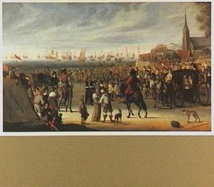 Vertrek van Charles II, Koning van Engeland, vanaf het strand bij Scheveningen, 1659