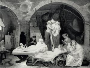 Antonio Canova in zijn atelier te Rome