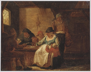 Interieur van een herberg met drinkende en kaart spelende boeren