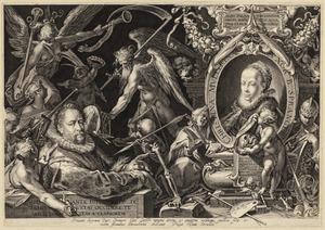 Portret van Bartholomeus Spranger (1546-1611) met een portret van Christina Muller (...-1600)
