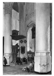 Interieur van de Nieuwe Kerk te Delft tijdens een huwelijksinzegening