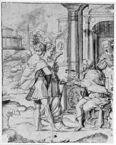 Tobias en de Engel nemen afscheid van Tobit en Anna (Tobit 4)