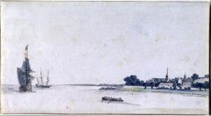 Riviergezicht met tweemasters en een roeiboot, rechts een stadje