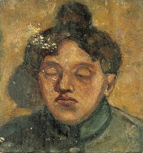 Portret van Agnita Feis met gesloten ogen
