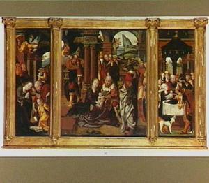 De geboorte (links), de aanbidding van de Wijzen (midden), de presentatie (rechts)