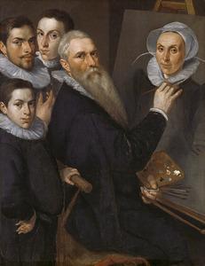 Zelfportret van Jacob Willemsz. Delff I (....-1601) met zijn gezin