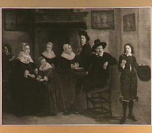 Familieportret in een interieur
