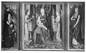 Knielende stichter met H. Petrus, martelaar van Verona (linkerluik); Maria met kind en engelen (middendeel); H. Hieronymus (rechterluk)
